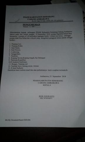 Info pdam ambarawa 25 september 2018